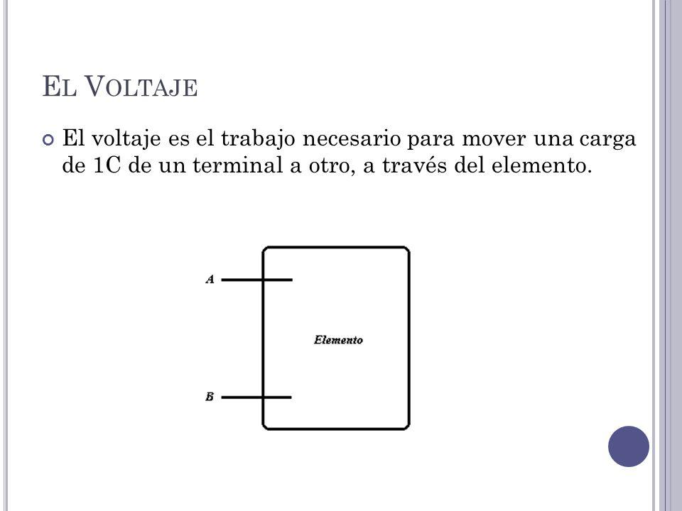 El Voltaje El voltaje es el trabajo necesario para mover una carga de 1C de un terminal a otro, a través del elemento.