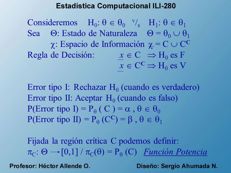 Consideremos H0:   0 v/s H1:   1