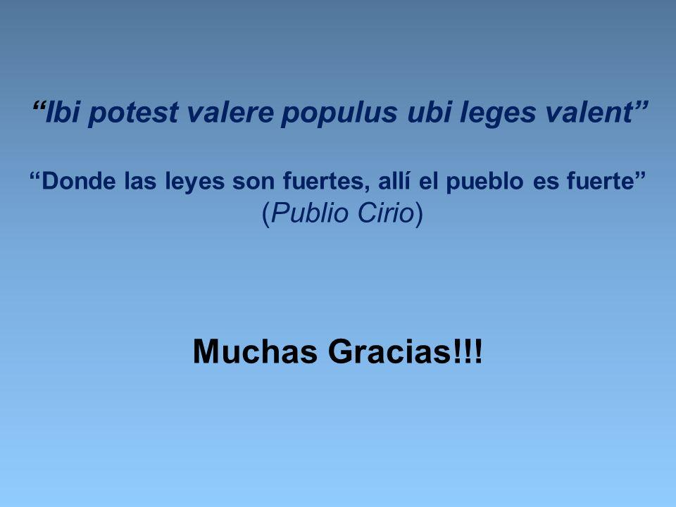 Muchas Gracias!!! Ibi potest valere populus ubi leges valent