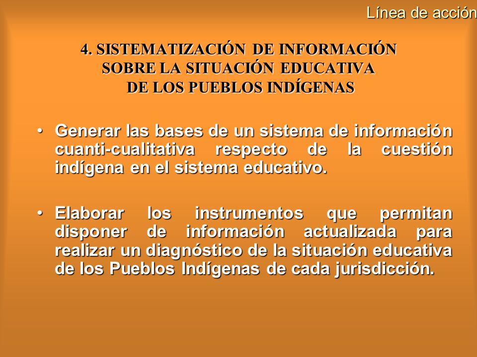 Línea de acción 4. SISTEMATIZACIÓN DE INFORMACIÓN SOBRE LA SITUACIÓN EDUCATIVA DE LOS PUEBLOS INDÍGENAS.