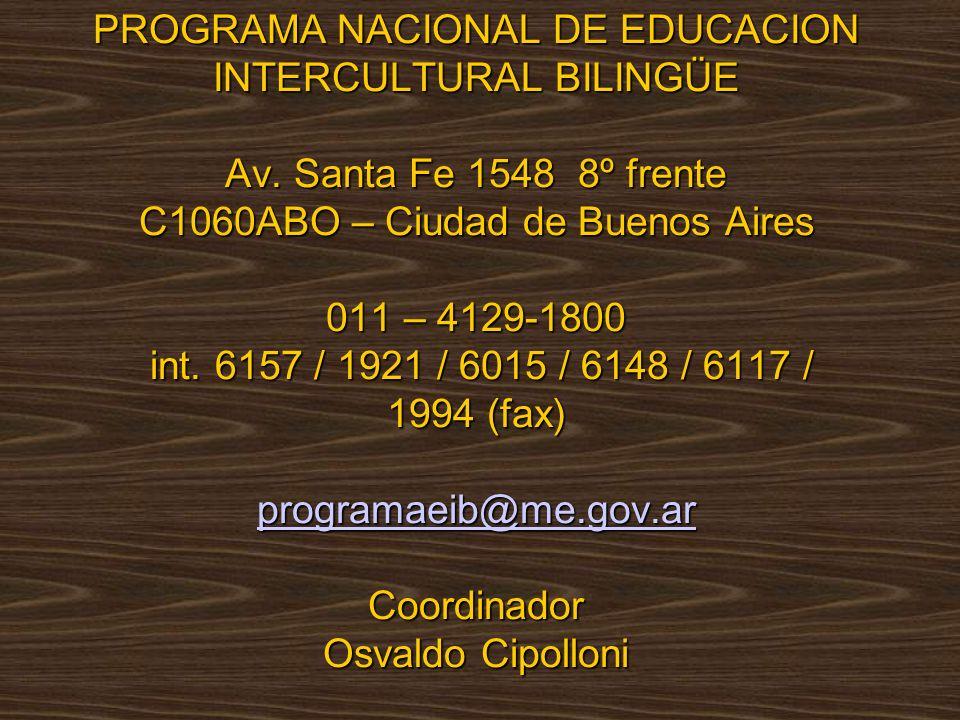 PROGRAMA NACIONAL DE EDUCACION INTERCULTURAL BILINGÜE Av