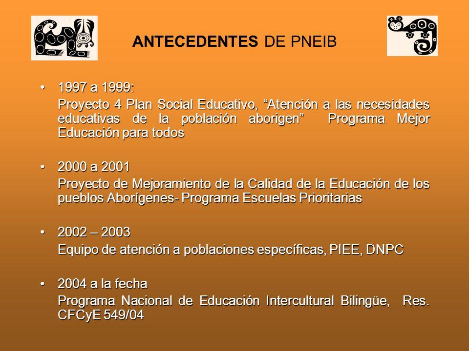ANTECEDENTES DE PNEIB 1997 a 1999: