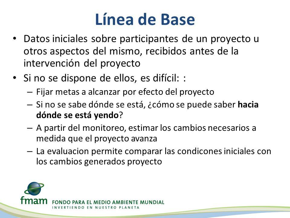 Línea de Base Datos iniciales sobre participantes de un proyecto u otros aspectos del mismo, recibidos antes de la intervención del proyecto.