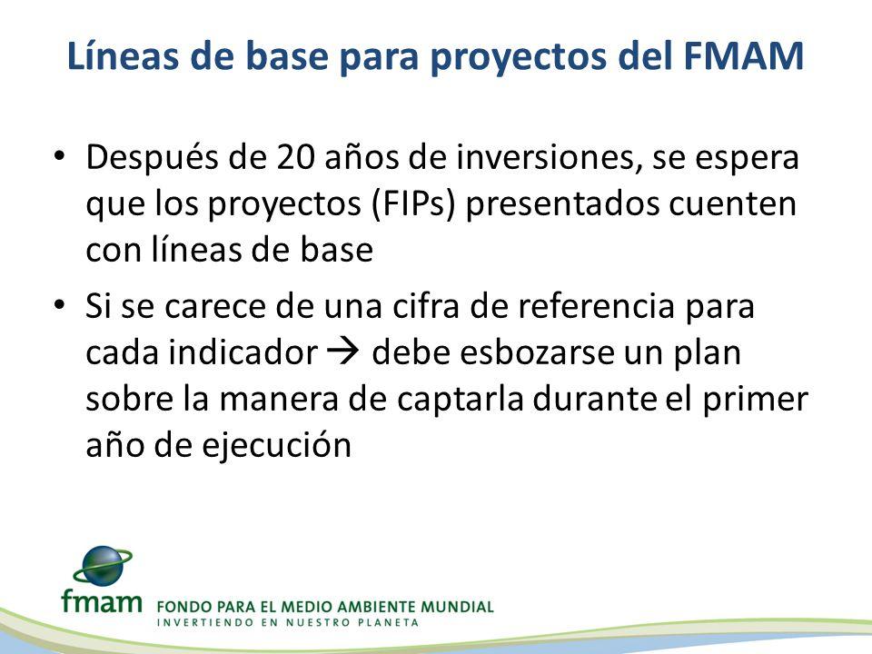 Líneas de base para proyectos del FMAM
