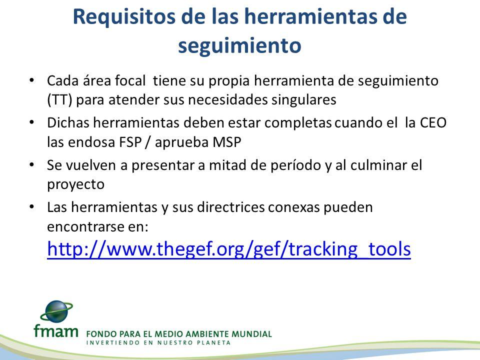 Requisitos de las herramientas de seguimiento