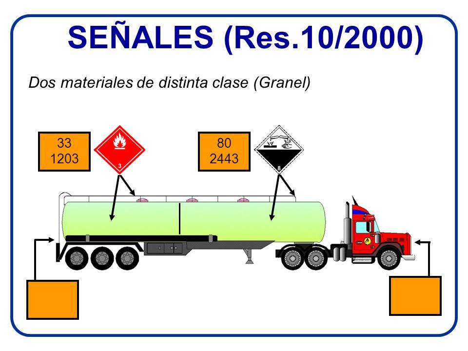SEÑALES (Res.10/2000) Dos materiales de distinta clase (Granel)