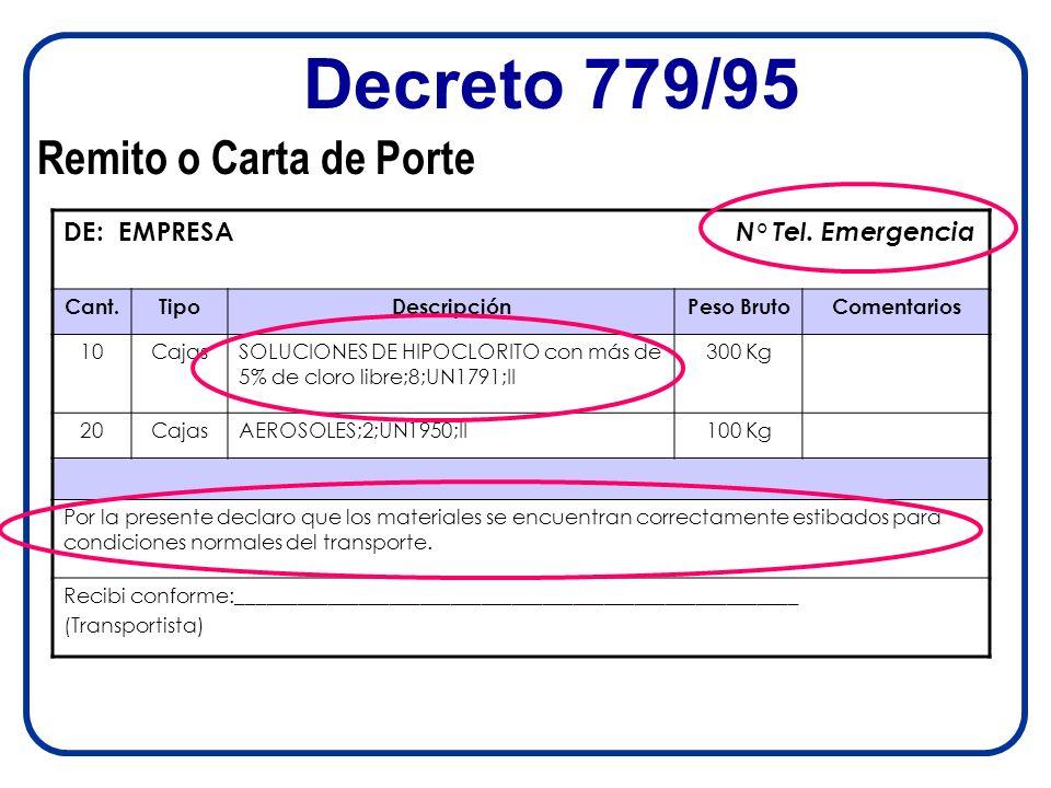 Decreto 779/95 Remito o Carta de Porte DE: EMPRESA N° Tel. Emergencia