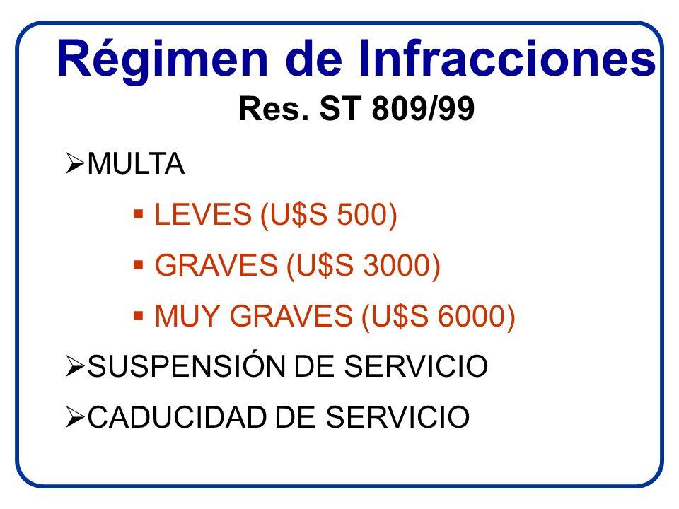 Régimen de Infracciones Res. ST 809/99