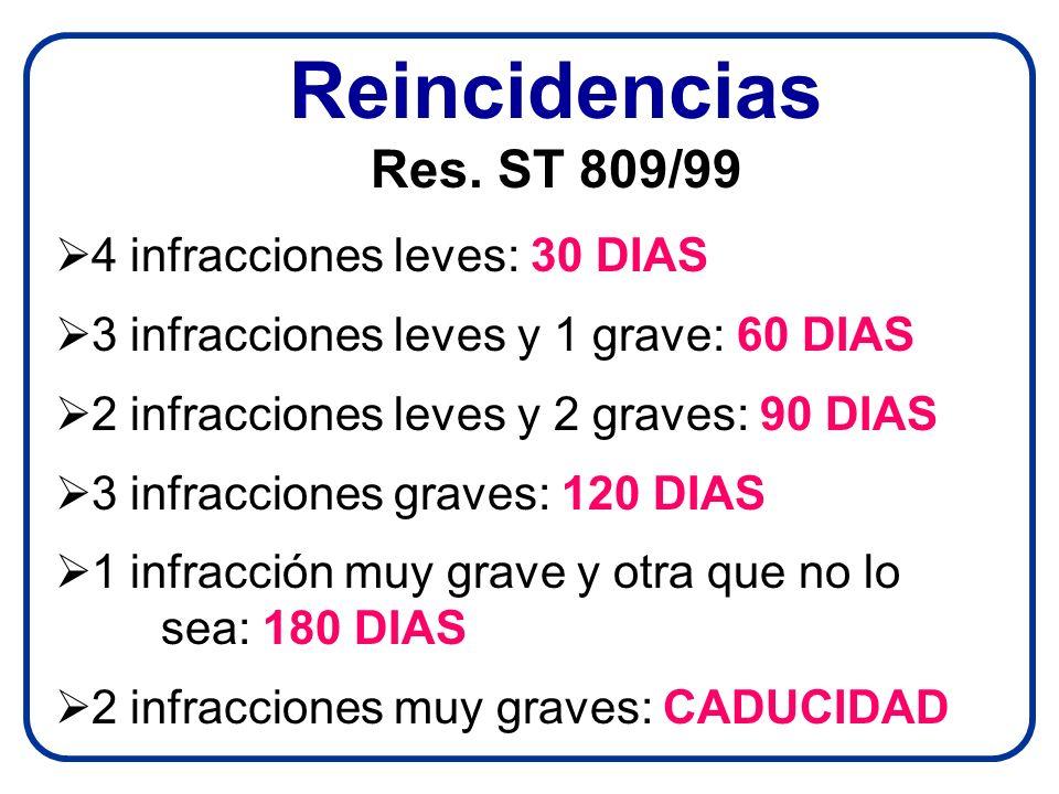 Reincidencias Res. ST 809/99 4 infracciones leves: 30 DIAS