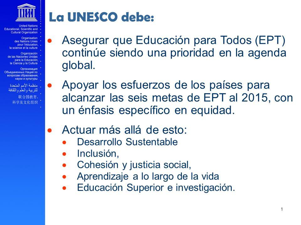 La UNESCO debe: Asegurar que Educación para Todos (EPT) continúe siendo una prioridad en la agenda global.