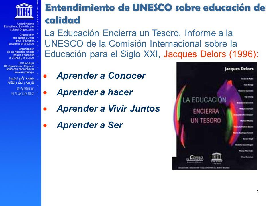 Entendimiento de UNESCO sobre educación de calidad