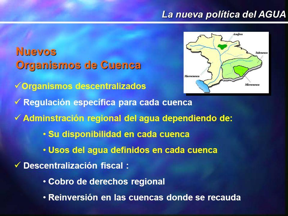 Nuevos Organismos de Cuenca La nueva política del AGUA