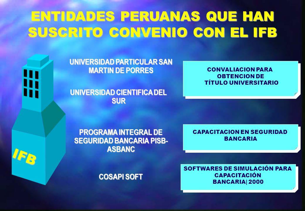 ENTIDADES PERUANAS QUE HAN SUSCRITO CONVENIO CON EL IFB