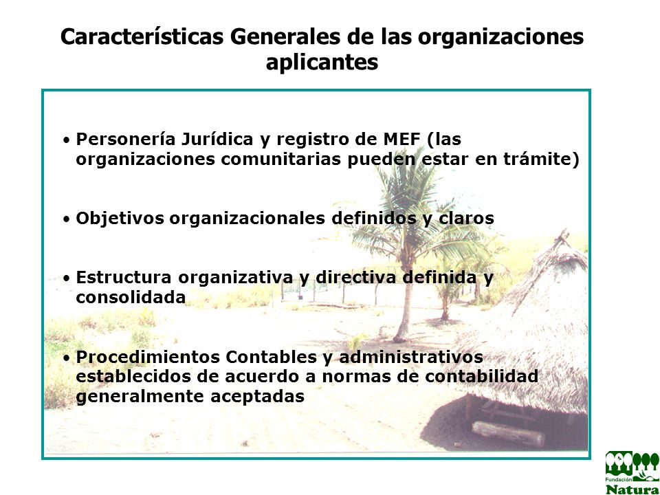 Características Generales de las organizaciones aplicantes