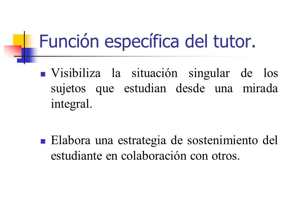 Función específica del tutor.