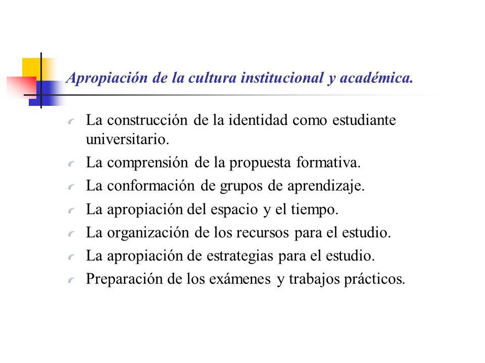 Apropiación de la cultura institucional y académica.
