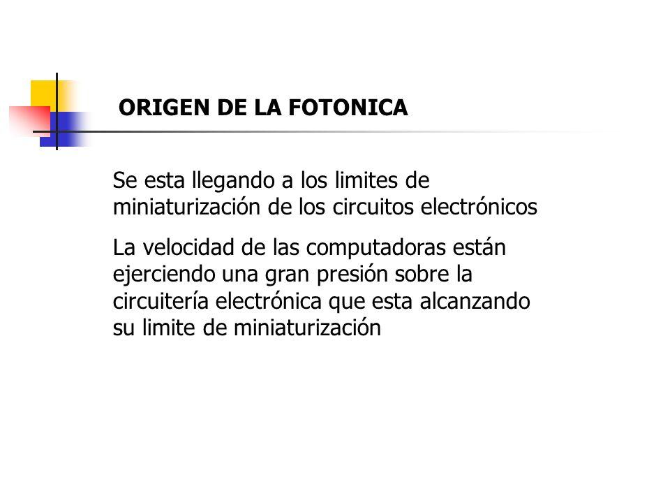 ORIGEN DE LA FOTONICA Se esta llegando a los limites de miniaturización de los circuitos electrónicos.
