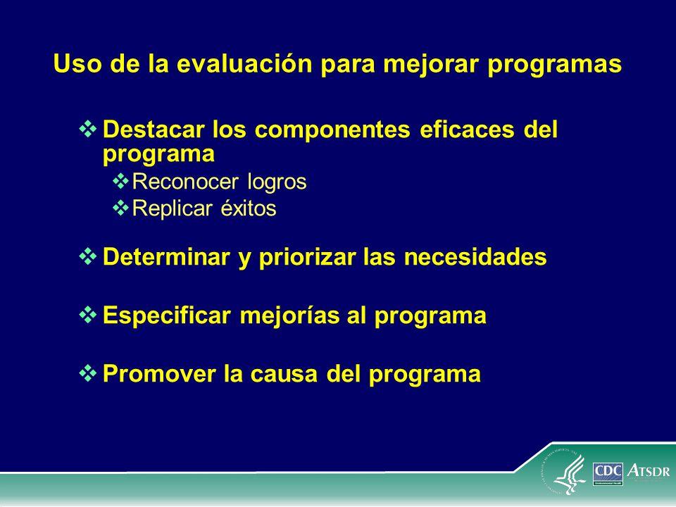 Uso de la evaluación para mejorar programas