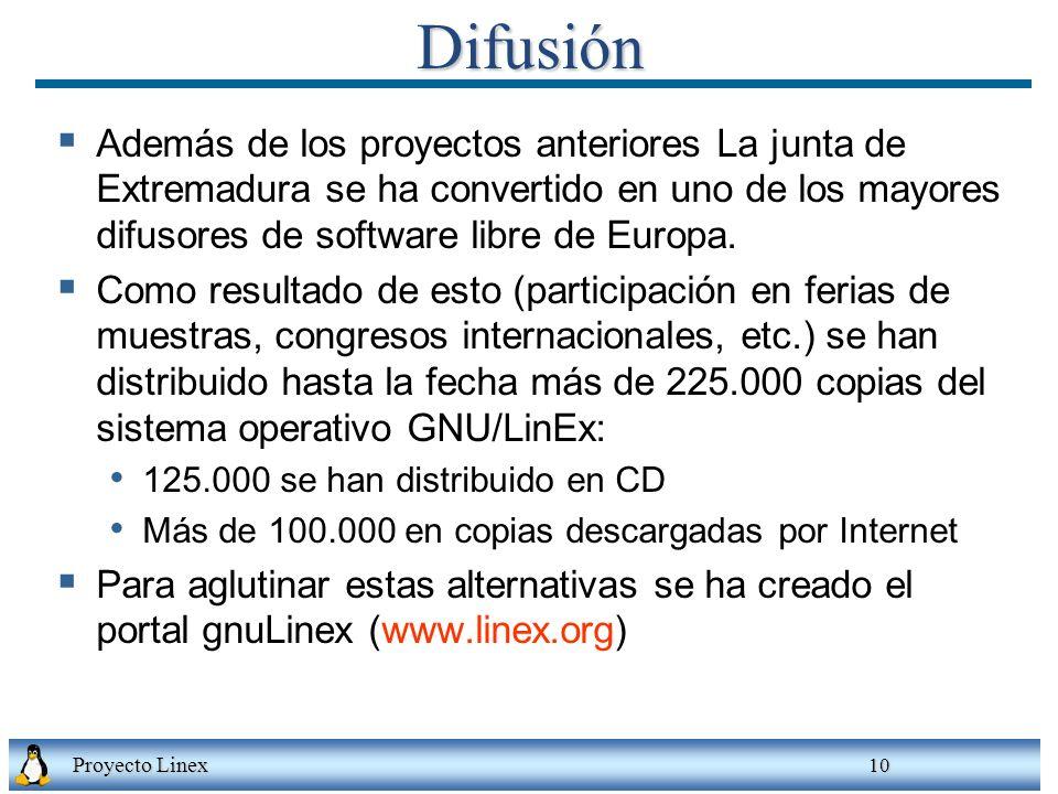 Difusión Además de los proyectos anteriores La junta de Extremadura se ha convertido en uno de los mayores difusores de software libre de Europa.