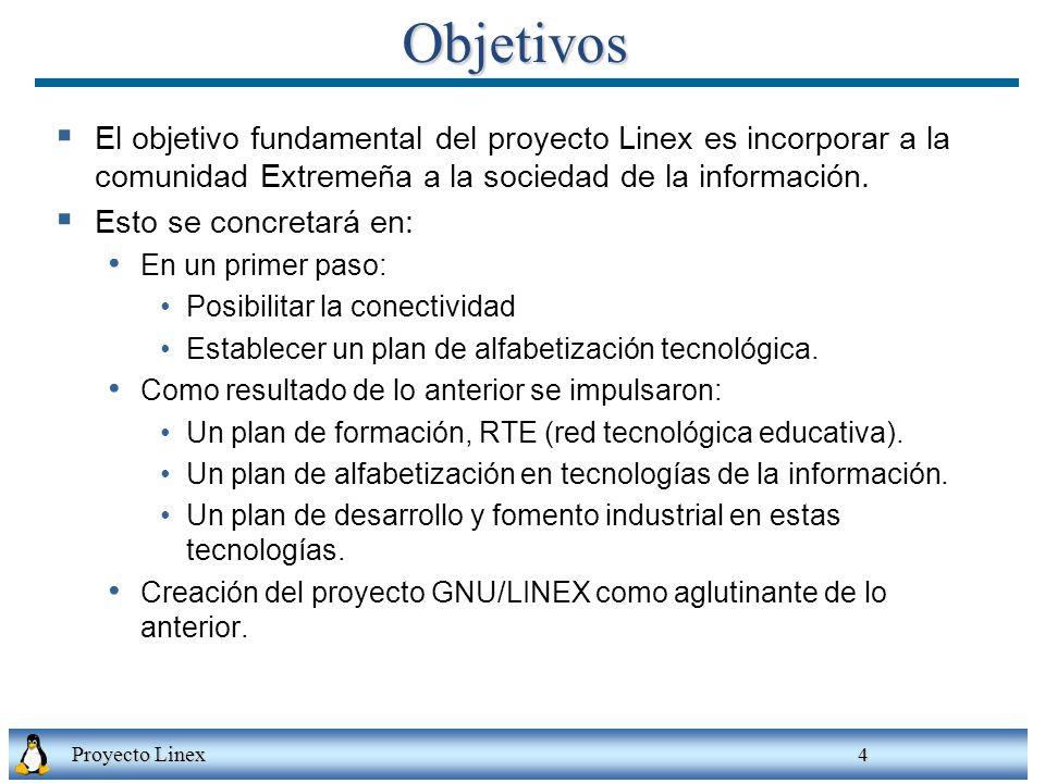 Objetivos El objetivo fundamental del proyecto Linex es incorporar a la comunidad Extremeña a la sociedad de la información.