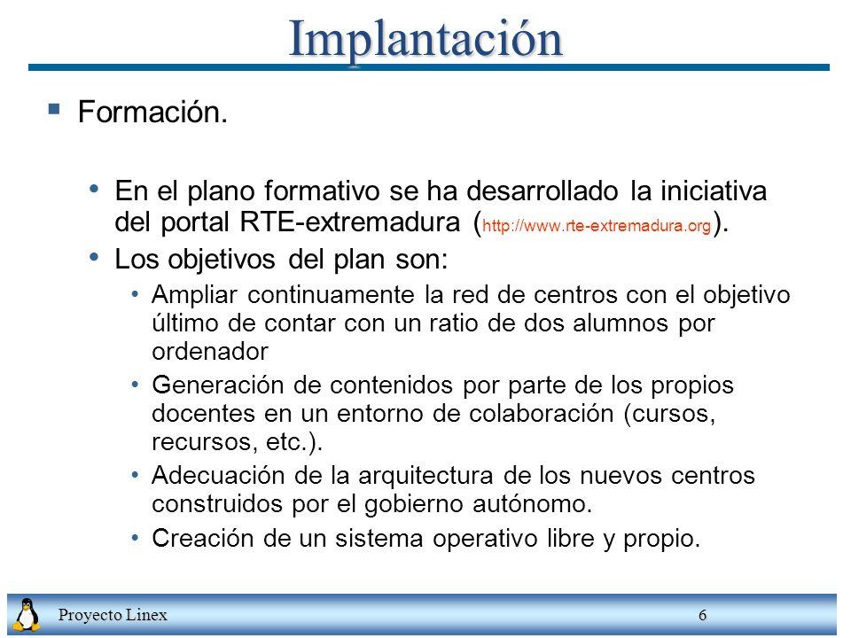 Implantación Formación.