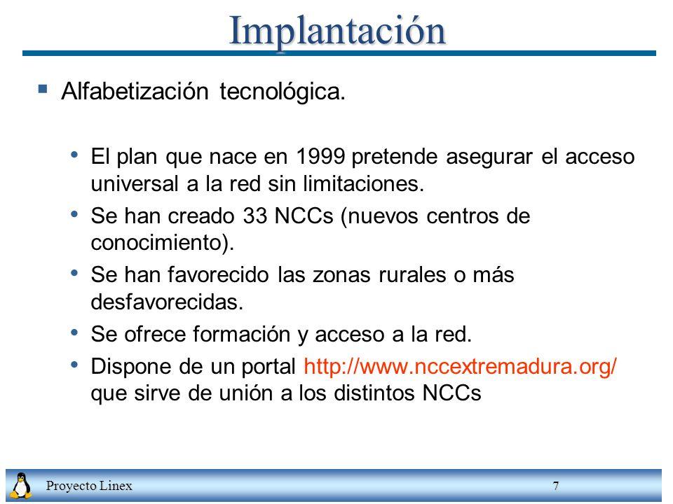 Implantación Alfabetización tecnológica.