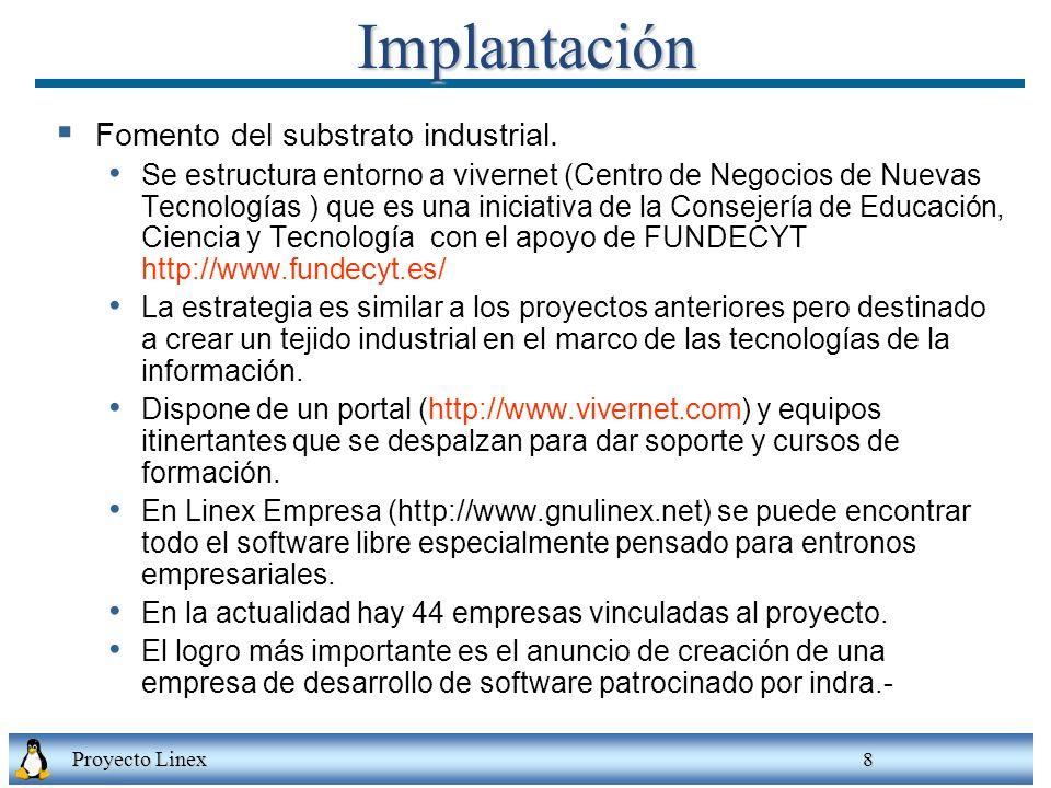 Implantación Fomento del substrato industrial.