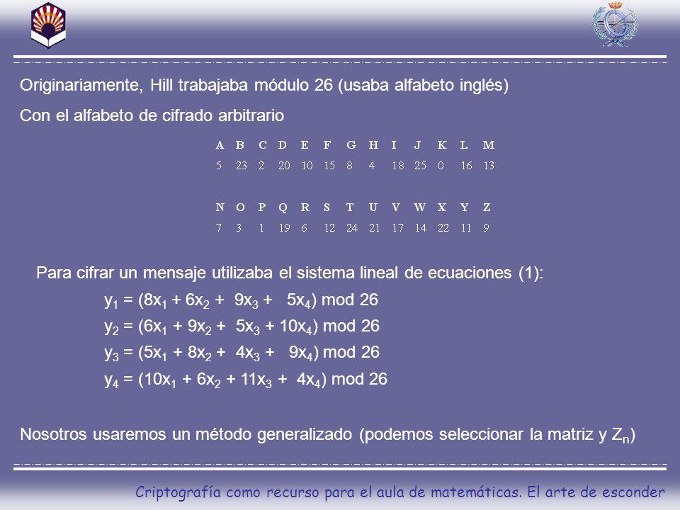 Originariamente, Hill trabajaba módulo 26 (usaba alfabeto inglés)