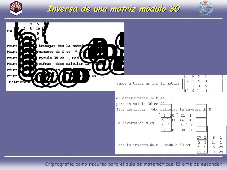 Inversa de una matriz módulo 30