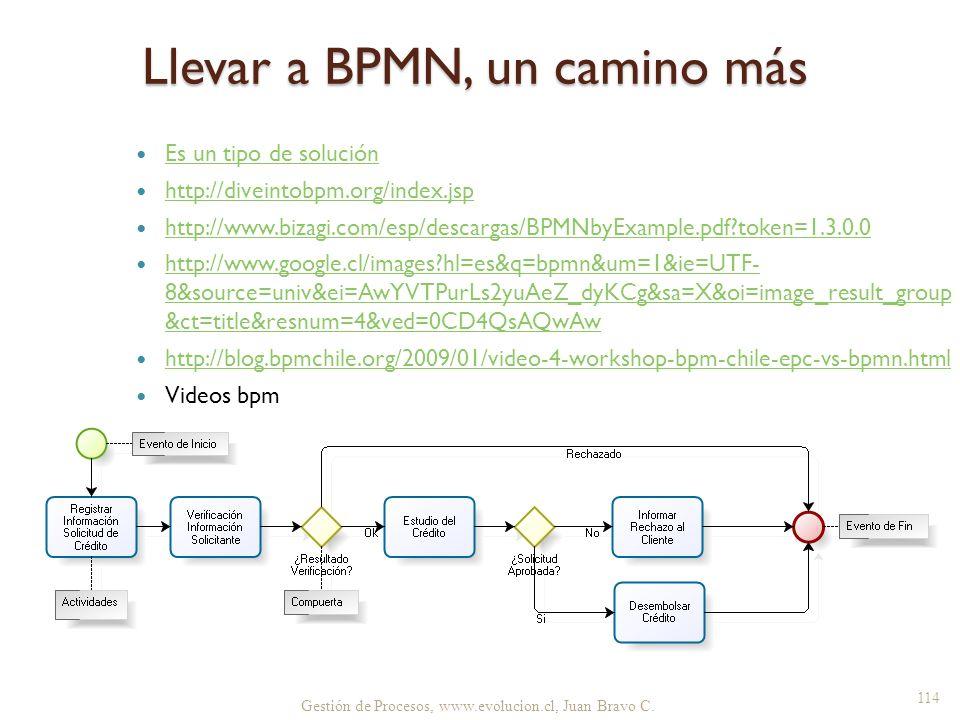 Llevar a BPMN, un camino más