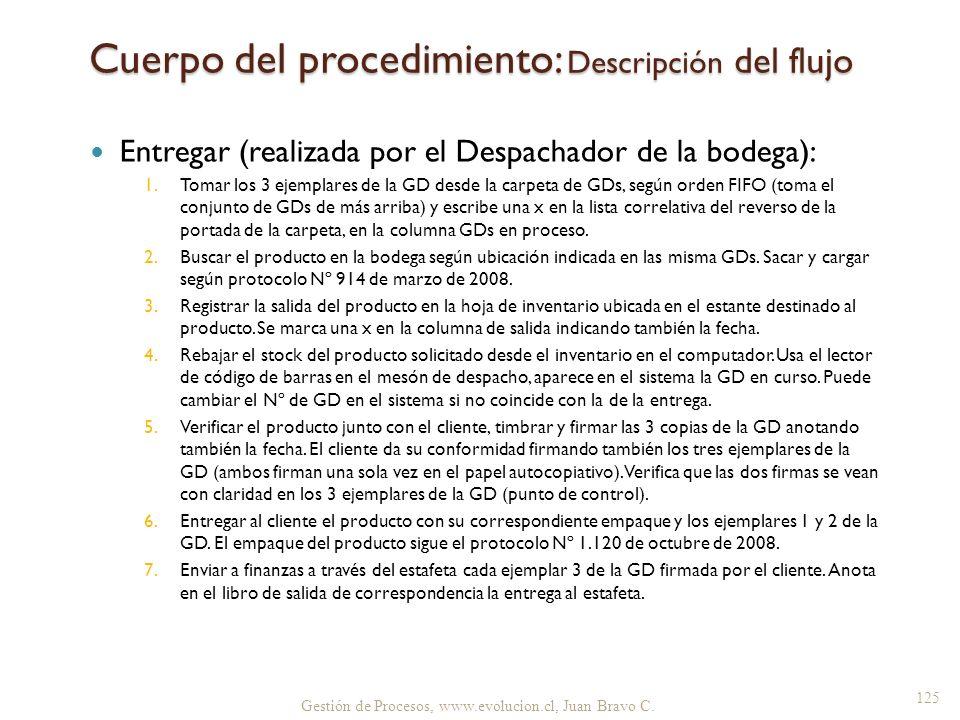Cuerpo del procedimiento: Descripción del flujo