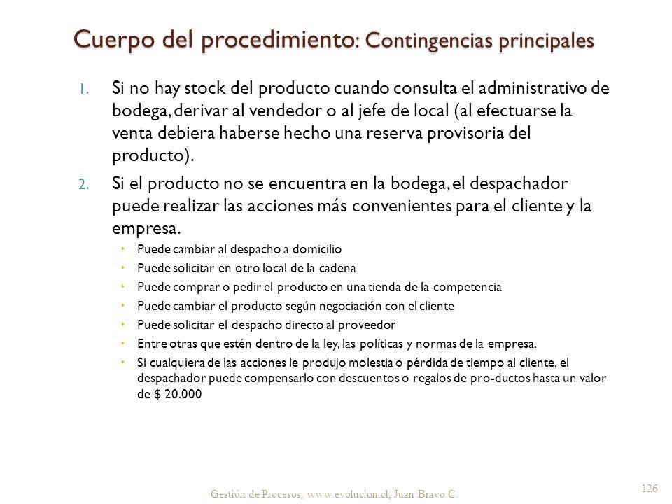 Cuerpo del procedimiento: Contingencias principales