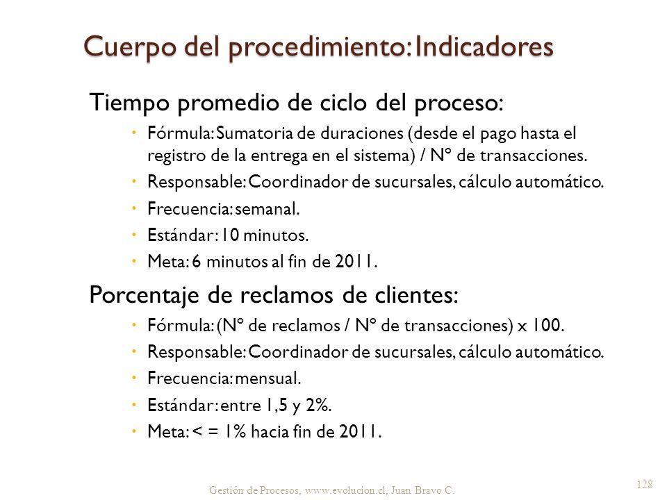 Cuerpo del procedimiento: Indicadores