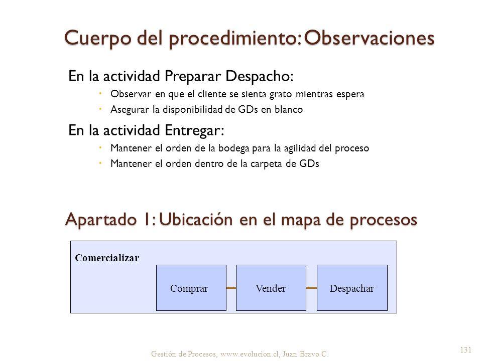 Cuerpo del procedimiento: Observaciones