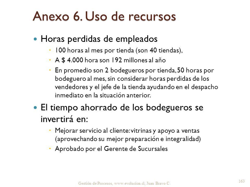 Anexo 6. Uso de recursos Horas perdidas de empleados