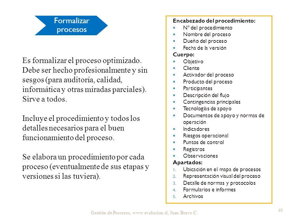 Formalizar procesos