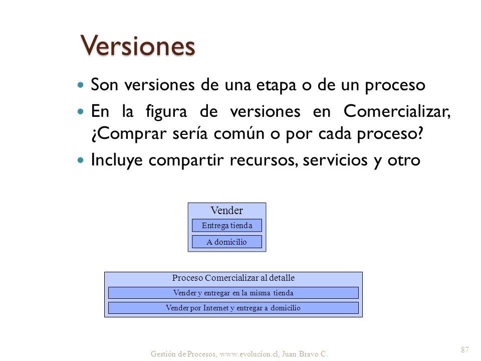 Versiones Son versiones de una etapa o de un proceso