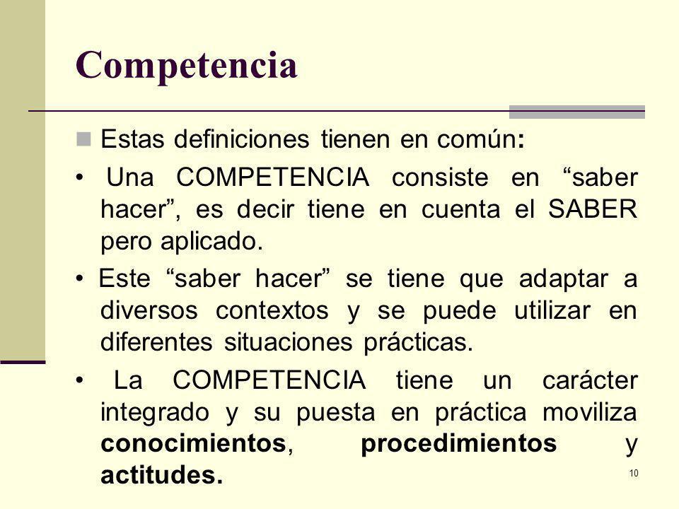 Competencia Estas definiciones tienen en común: