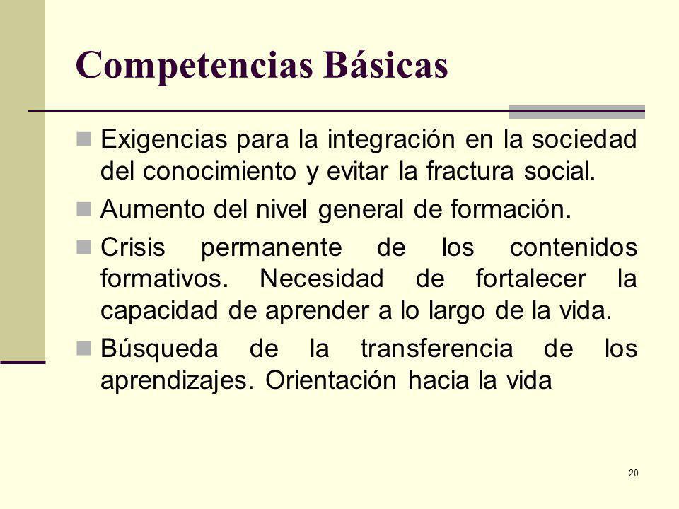 Competencias Básicas Exigencias para la integración en la sociedad del conocimiento y evitar la fractura social.