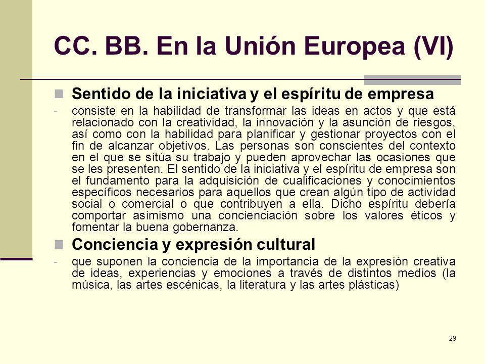 CC. BB. En la Unión Europea (VI)