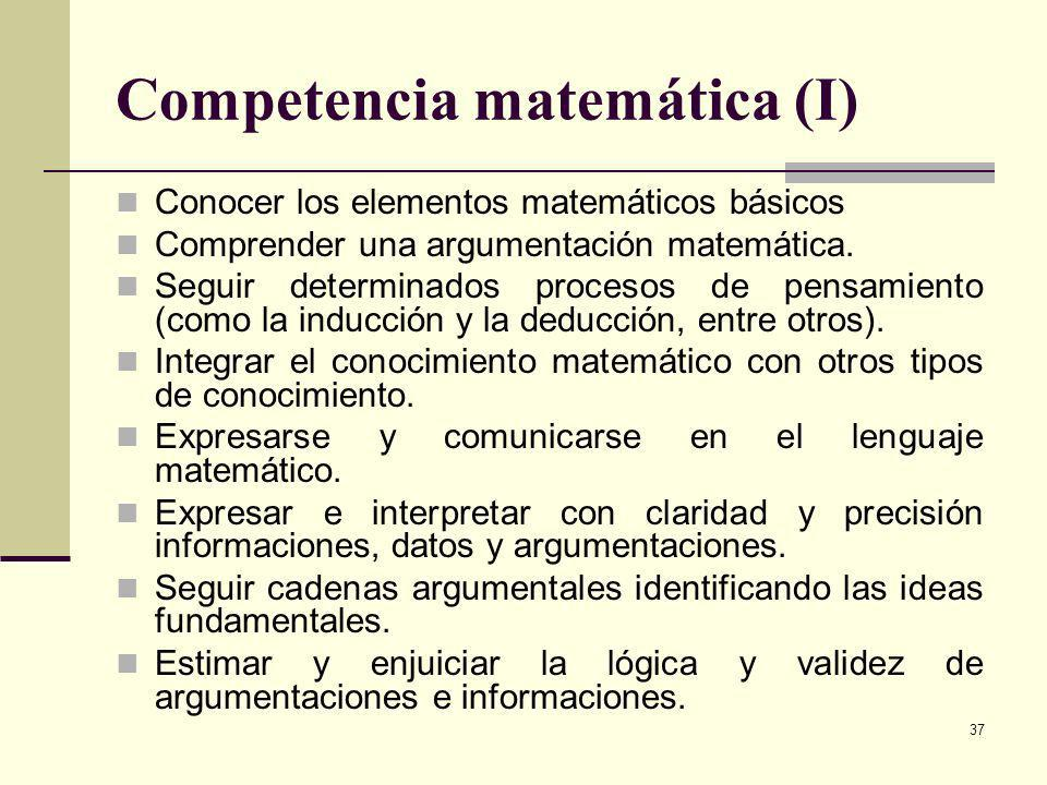 Competencia matemática (I)