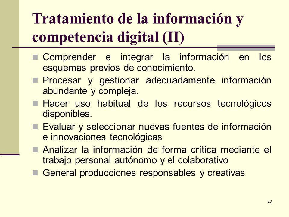Tratamiento de la información y competencia digital (II)