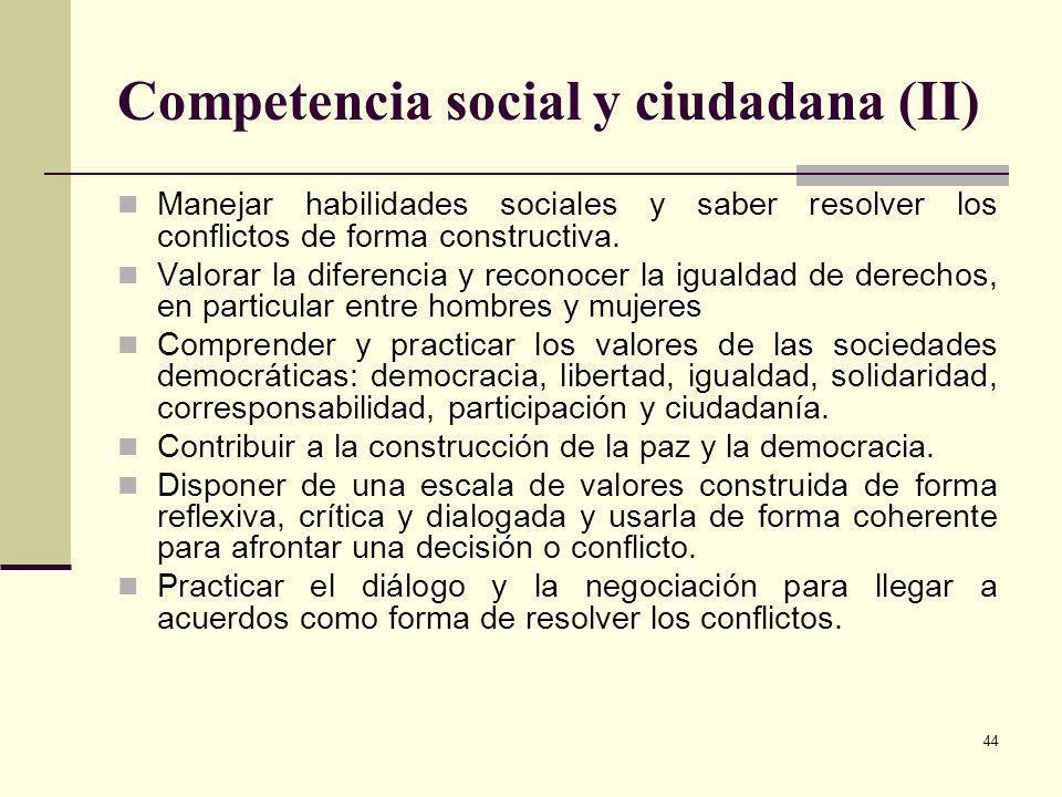 Competencia social y ciudadana (II)