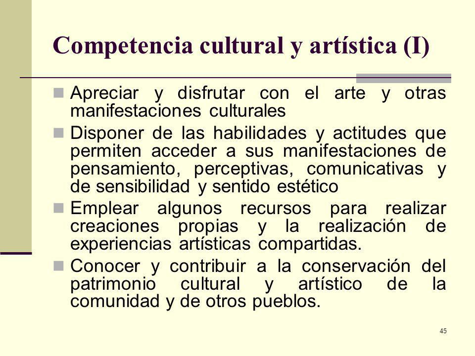 Competencia cultural y artística (I)