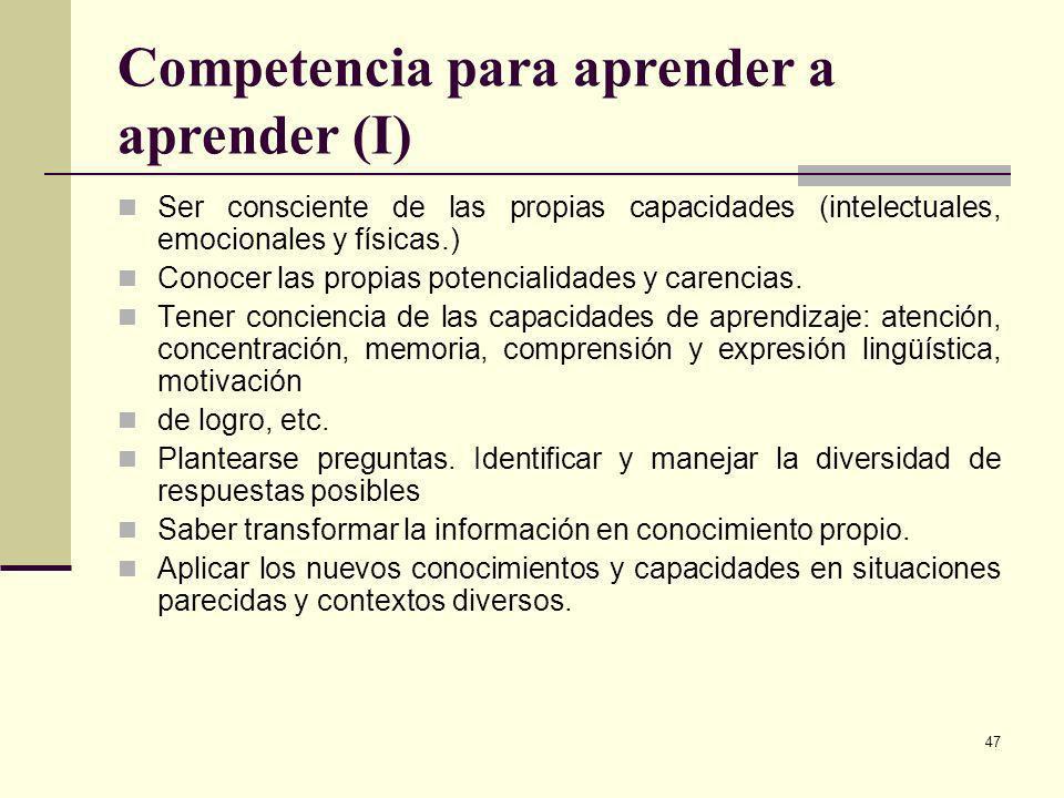 Competencia para aprender a aprender (I)