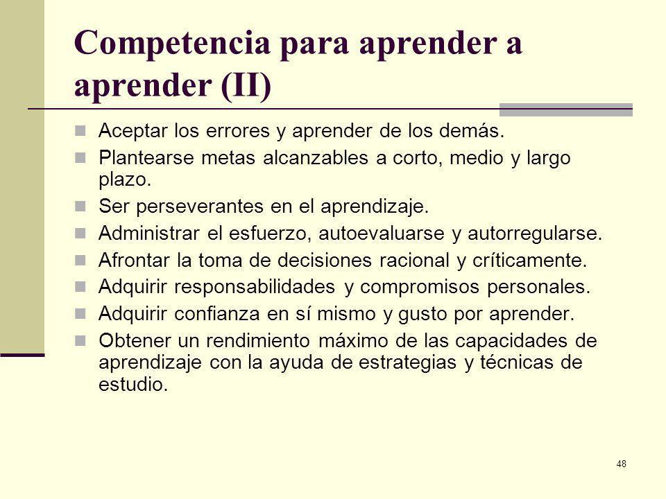 Competencia para aprender a aprender (II)