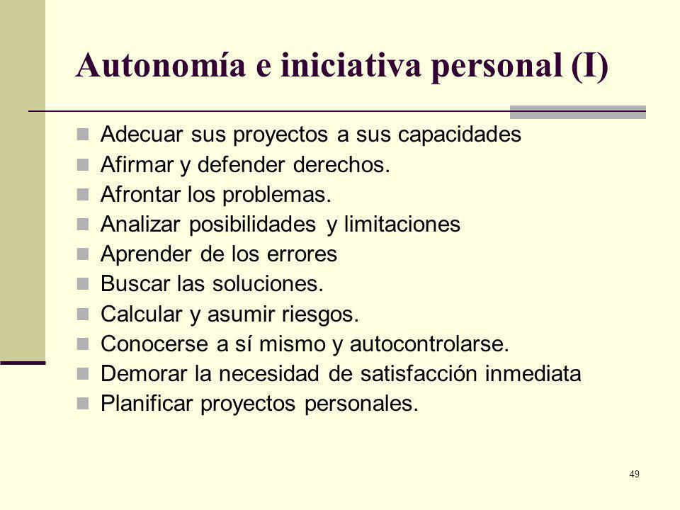 Autonomía e iniciativa personal (I)