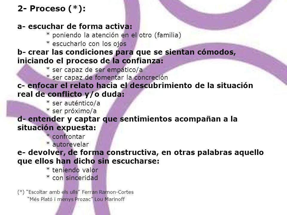 2- Proceso (. ): a- escuchar de forma activa: