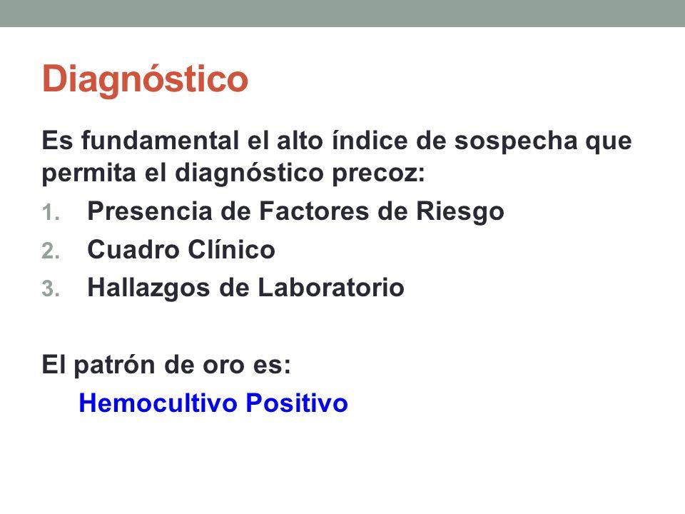 Diagnóstico Es fundamental el alto índice de sospecha que permita el diagnóstico precoz: Presencia de Factores de Riesgo.