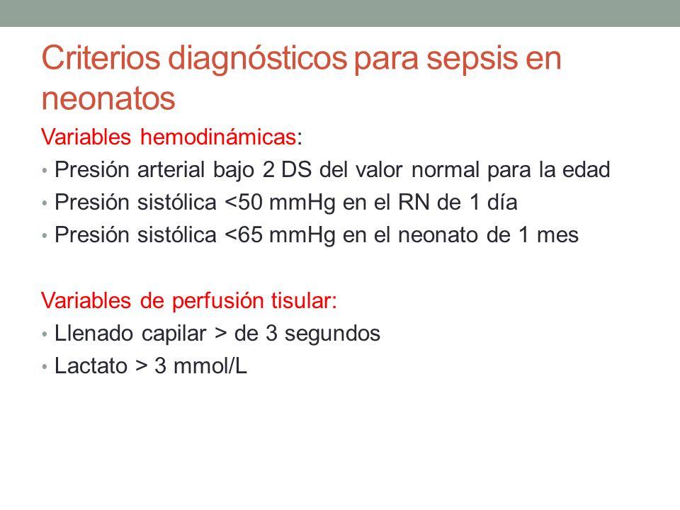 Criterios diagnósticos para sepsis en neonatos